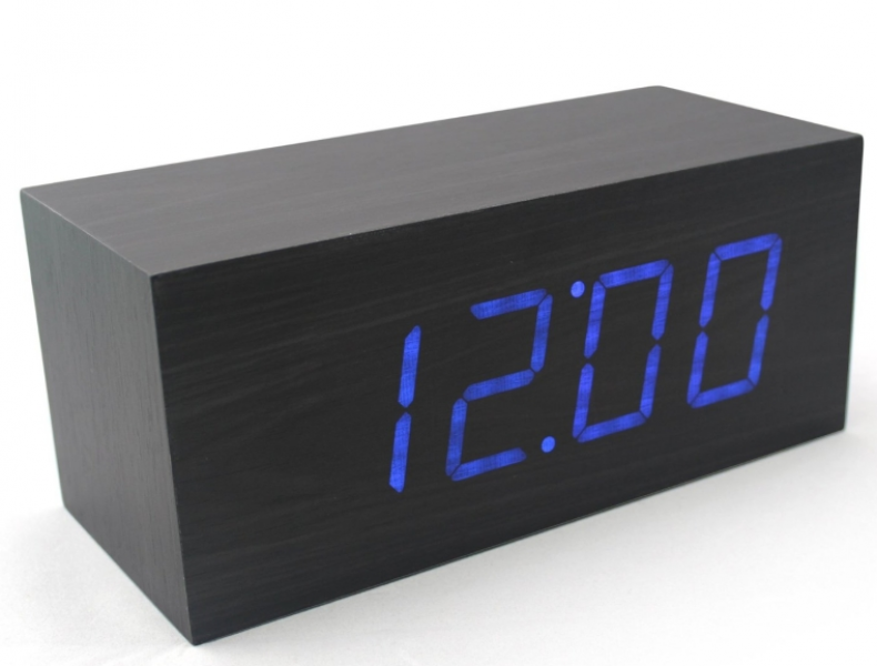 Wood Grain LED Alarm Clock – Time Temperature Date – Sound Control ...