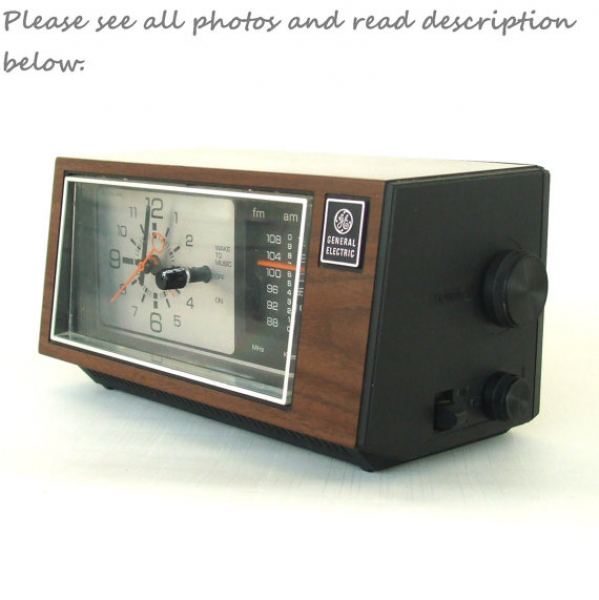 Wood Grain GE Alarm Clock by LaurasLastDitch on Etsy