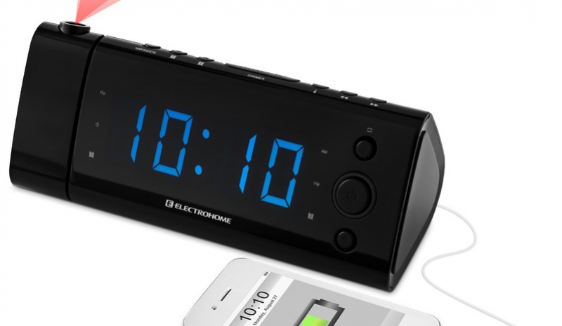 Alarm Clock Radio with Time Projection, Battery Backup, Auto Time ...