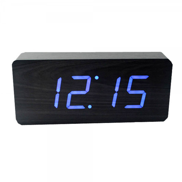 Gingko Slab Blue LED Alarm Clock - Black at Amara