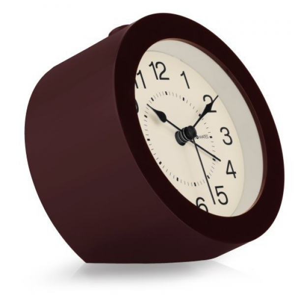 DecoMates Non-Ticking Silent Wall and Desk Alarm Clock, Small ...