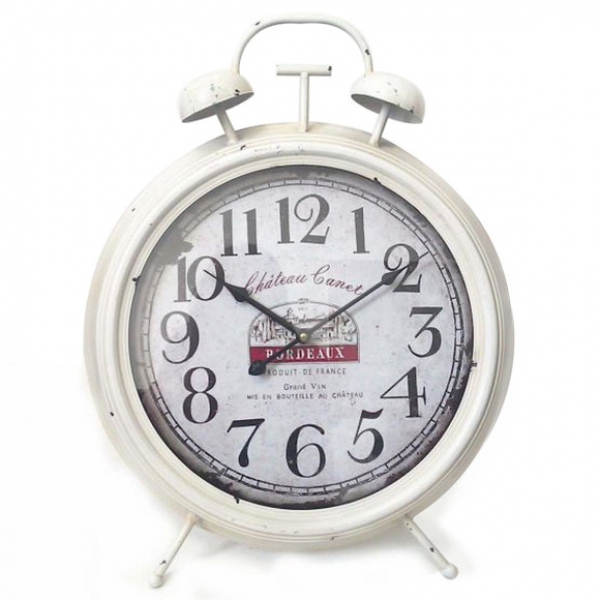 Style Chateau Double Bell Alarm Clock in White | Buy Decor Clocks ...