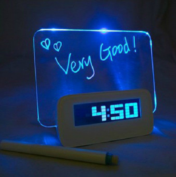 Free Shipping Blue LED Fluorescent Message Board Digital Alarm Clock ...