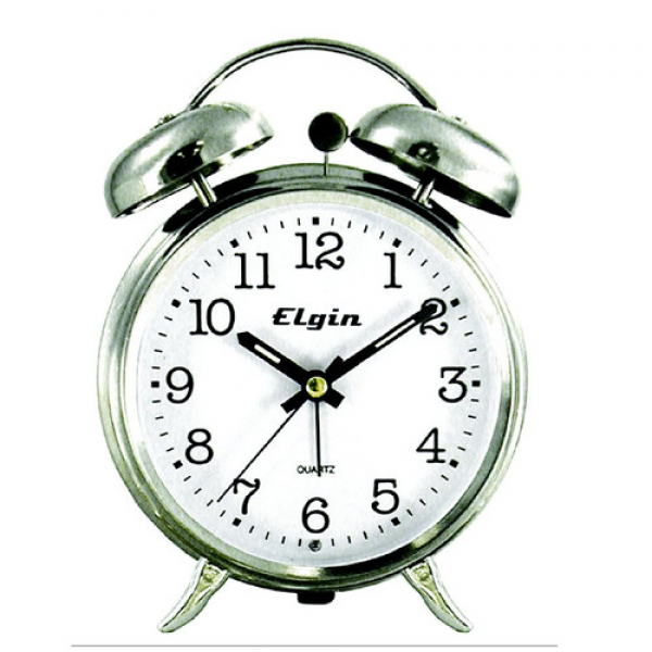 Geneva Clock Elgin Quartz Analog Metal Twin Bell Alarm Clock & Reviews ...