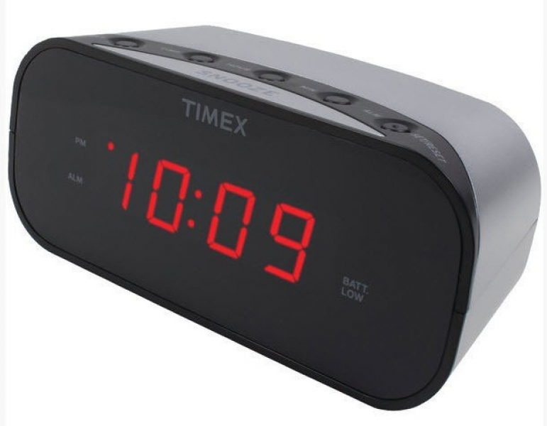 Timex Silver Electric Alarm Clock Battery Backup Soft Loud New Free US ...