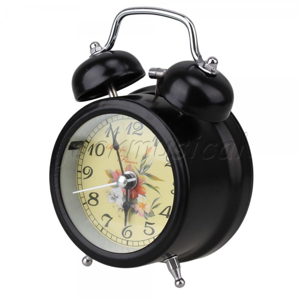 ... Quartz Dual Bell Loud Hammer Alarm Clock Nightlight Black | eBay