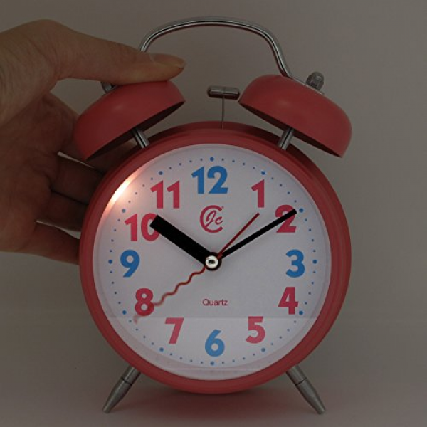 Quartz Analog Silent non ticking sweep second hand bedside alarm clock ...
