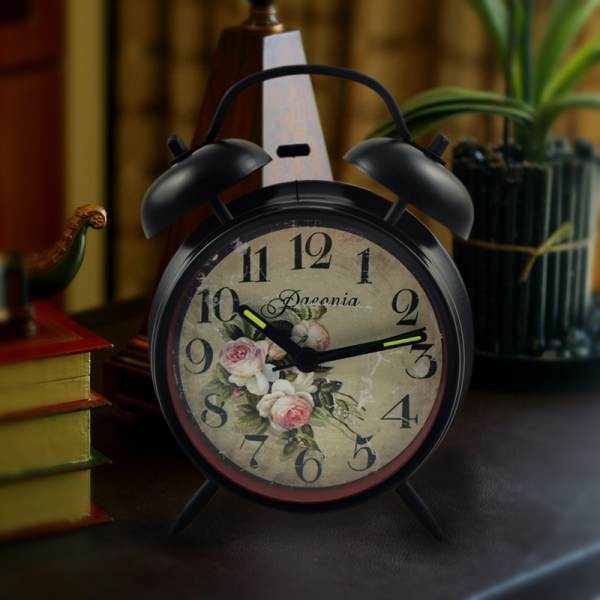 silent night light vintage alarm clock double bell bedside alarm clock ...