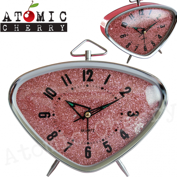 Details about Retro Alarm Clock Pink Glitter Rockabilly 50s 60s 70s ...