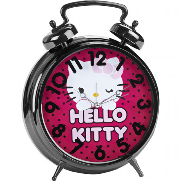 Hello Kitty Jumbo Twin Bell Alarm Clock in Pink with Polka Dots