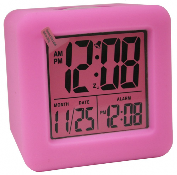 Equity by La Crosse 70902 Soft Cube LCD Alarm Clock, Pink