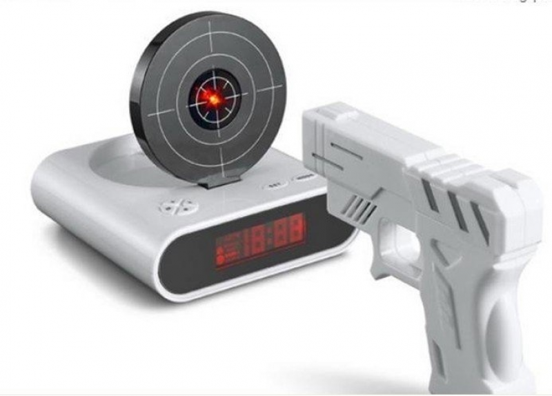 Laser target gun alarm clock! | .Want.It. | Pinterest