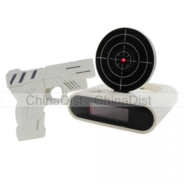 Shooting Alarm Clock Laser Target Shoot Gun Clock O'clock With Toy Gun ...