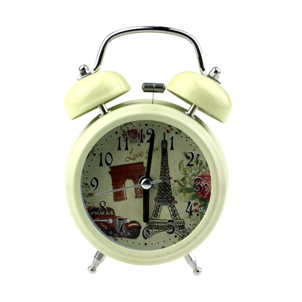 Classic Eiffel Tower Pattern Retro Double Bell Desk Table Alarm Clock ...