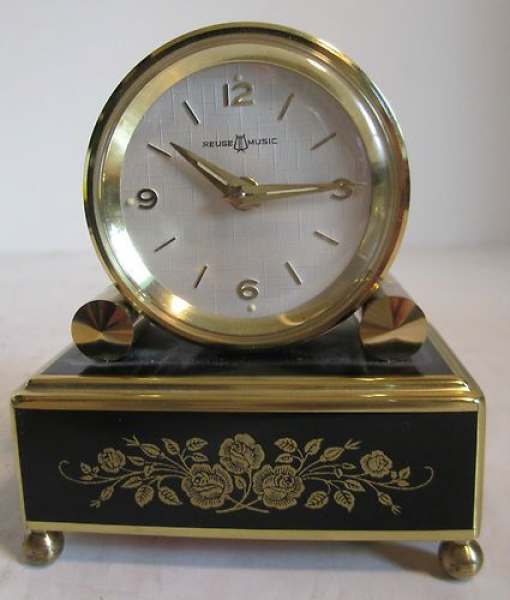 Vintage swiss reuge music box alarm clock / play's the emperor's wal ...