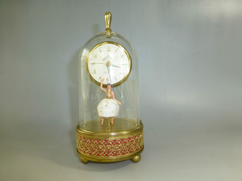 EXC Vintage Music Alarm Clock Reuge Dancing Ballerina Music Box Watch ...