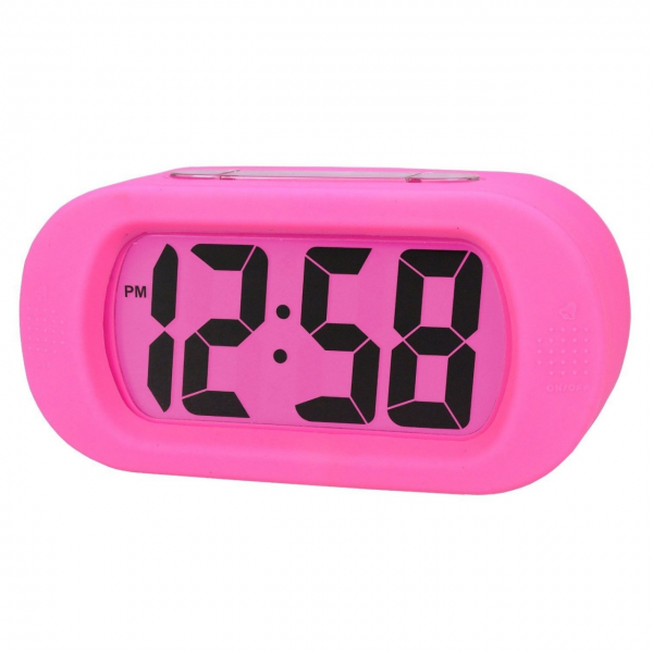 Acctim Vetro LCD Silicone Rubber Case Pink Alarm Clock Bedside Clock