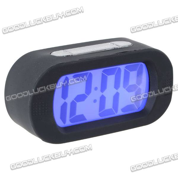 Large LCD Display Alarm Clock Silicone Frame Black E0712