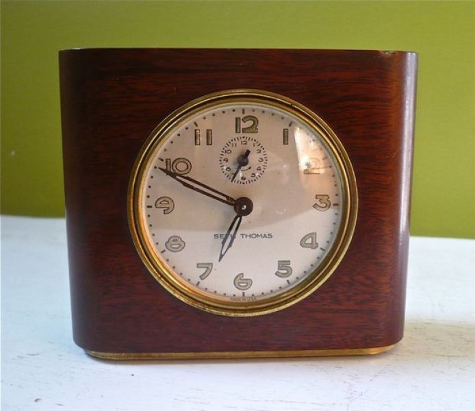 Vintage Seth Thomas Wind Up Bedside Alarm Clock by twolittleowls