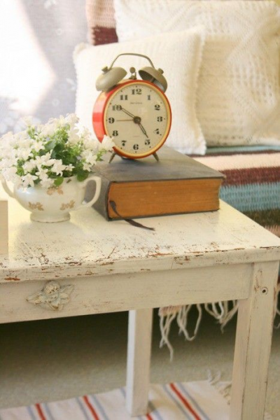 nightstand decor - old book, vintage clock & floral