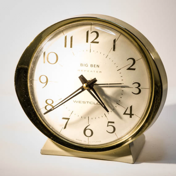 alarm clock By Westclox; VINTAGE retro Scottish made bedside clock ...