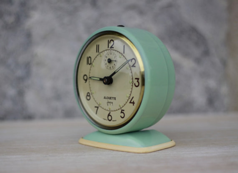 Vintage French Jade Green Alarm Clock by Maintenant contemporary-alarm ...