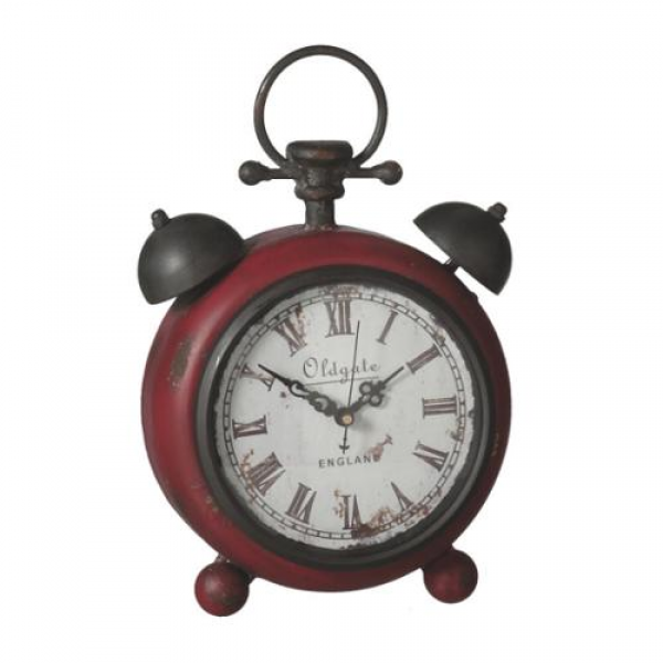 of 2 Red Distressed and Vintage-Style Alarm Clock Design Desk Clocks ...