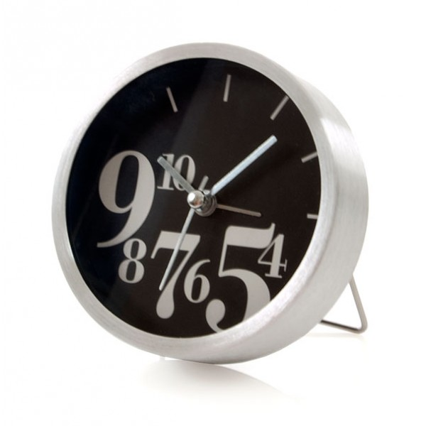 ... > Clocks > Small contemporary design alarm clock - black & white