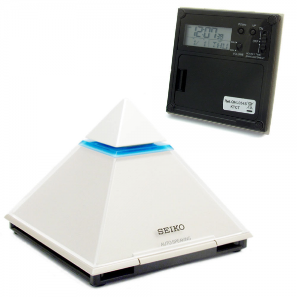 SEIKO Pyramid Speaking Talking Alarm Clock With Snooze Calendar Date ...