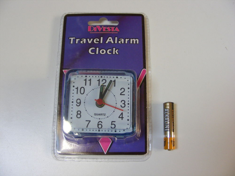 Small Little Quartz Travel Alarm Clock Battery Operated AA Battery ...