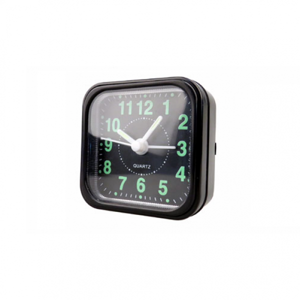 Small Bedside Quartz Alarm Clock - Black