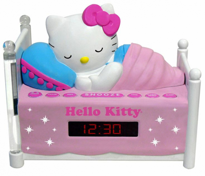 Hello Kitty Sleeping Kitty Dual Alarm Clock Radio with Night Light NEW