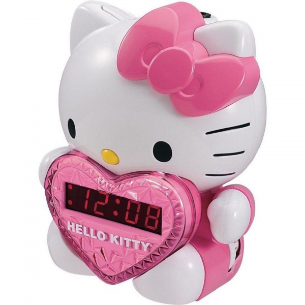 ... Kitty Childrens Girls Sleep Digital Projection Alarm Clock Am FM Radio