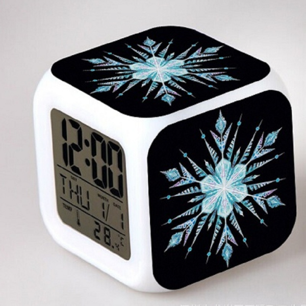 Cartoon-Snowflake-LED-colorful-color-creative-small-alarm-clock ...