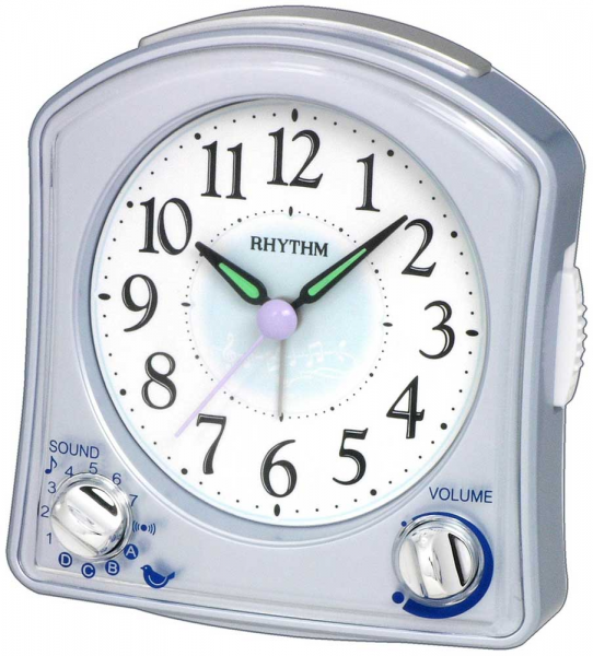 Silver Robin Alarm Clock by Rhythm - Rhythm Mantel Clocks