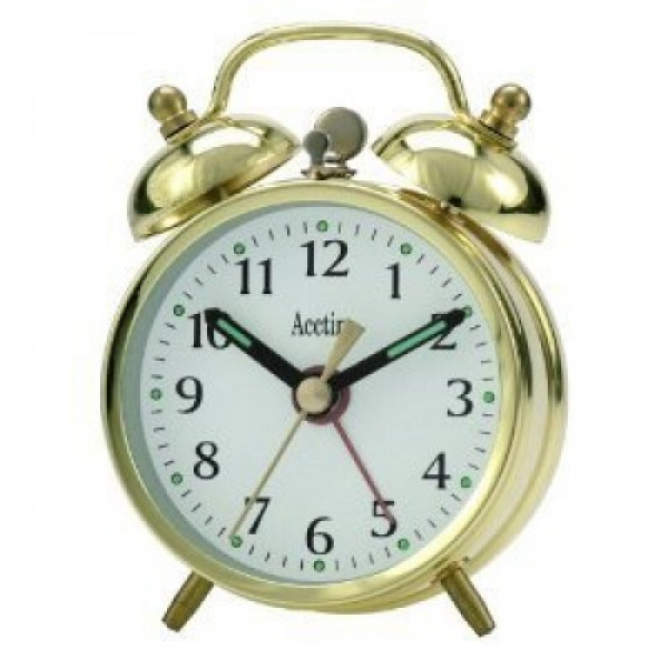 ... Traditional Wind-up Mini Double Bell Bedside Alarm Clock ( Brass