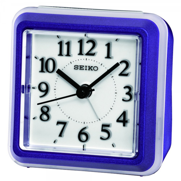 Seiko Bedside alarm clock, violet plastic, flashing LED light, quartz ...