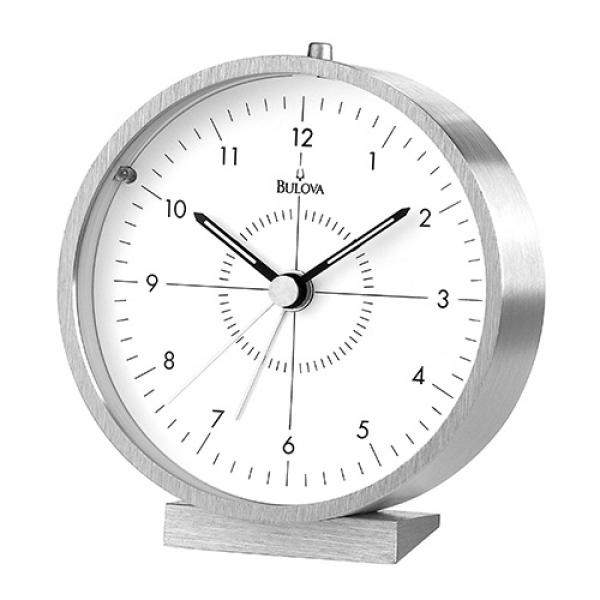 ... Silver Tabletop Alarm Clock Bulova Desk & Alarm Clocks Home Decor
