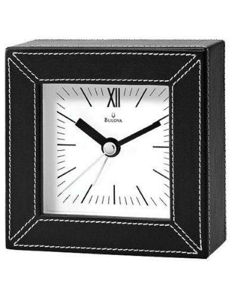 Bulova Parkhill Alarm Clock Black Faux Leather Case and White Dial ...