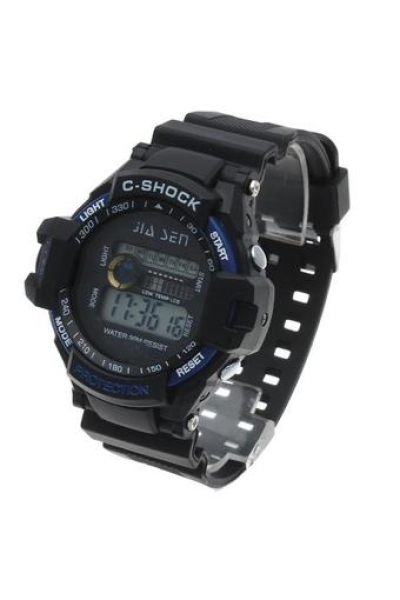 Men Black Plastic Band Alarm Clock Week LED Waterproof Digital Watch ...
