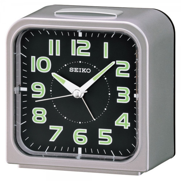 Seiko QHK025S Luminous Compact Alarm Clock Grey| Glow In Dark Clock