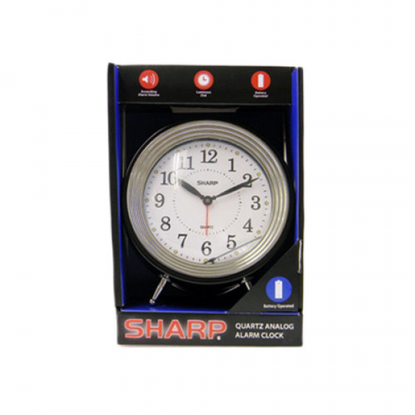 Sharp Black Quartz Analog Retro Round Alarm Clock: Plastic case and ...