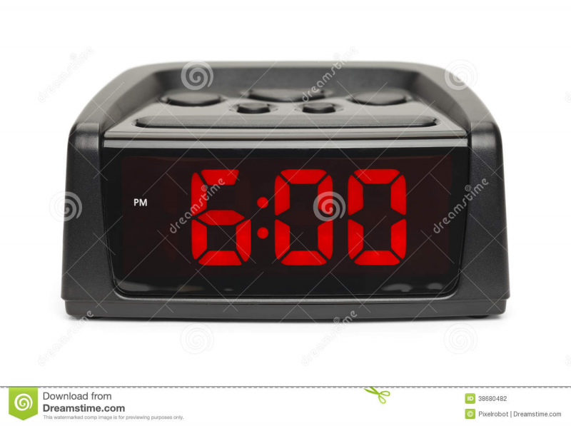 Black Plastic Alarm Clock With Red Display Isolated on White ...