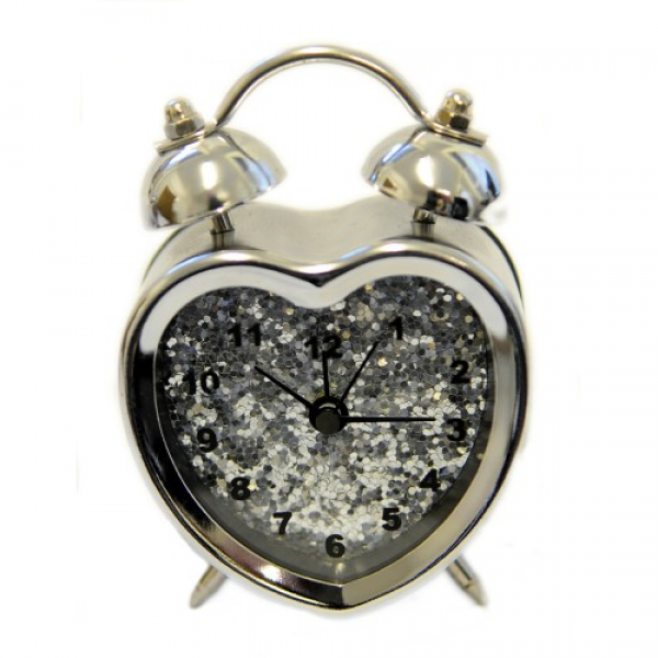 Silver Heart Shaped Alarm Clock With Silver Glitter
