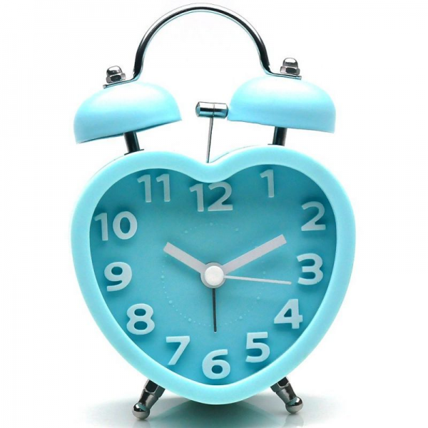 ... > Clocks > Blue Twin Bell Battery Quartz Heart-shaped Alarm Clock