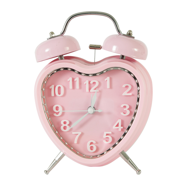 Adeco Pink Sweet Heart Vintage-inspired Table Top Alarm Clock ...