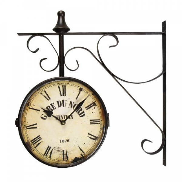 Adeco [CK0003] Antique Vintage Decorative Round Iron Double Wall Clock ...