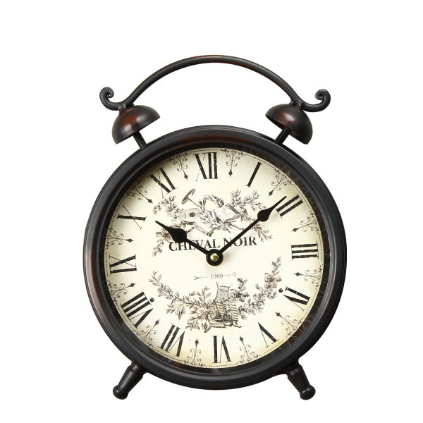 Adeco Vintage-Inspired Brown Table Top Alarm Clock Cheval Noir ...