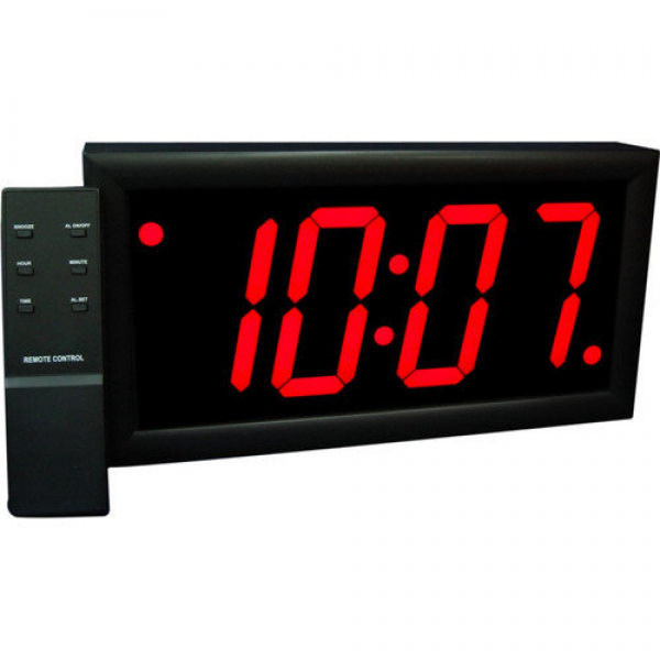 Big Time Clocks Jumbo 4'' Numbers LED Digital Alarm Clock with Remote ...