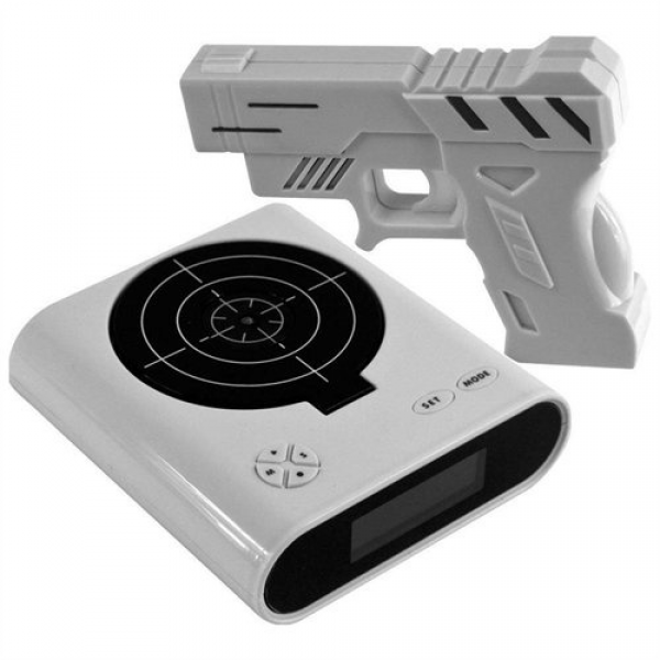 Gun target alarm clock: When it goes off you have to shoot the target ...